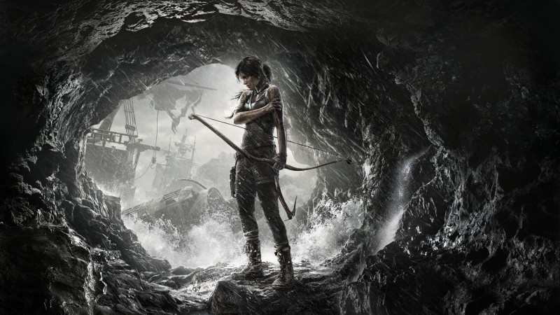 Rise of the Tomb Raider, game, cave, rain, bow, water, ship, lara croft, screenshot, , 4k, 5k, PC, 2015 (horizontal)