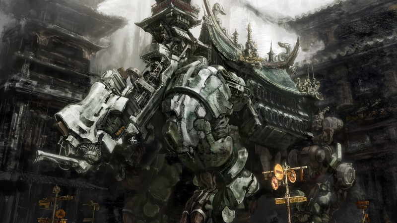Futuristic mecha, grey, artwork, anime, art, city (horizontal)