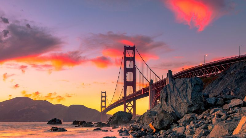 Golden Gate Bridge, San Francisco, USA, autumn, 4K (horizontal)