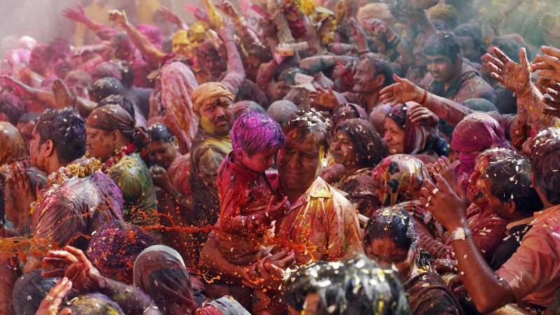 Holi Festival Of Colours, father, son, people, Indian holiday, spring, life, new moon, Holika, colored powder, event (horizontal)