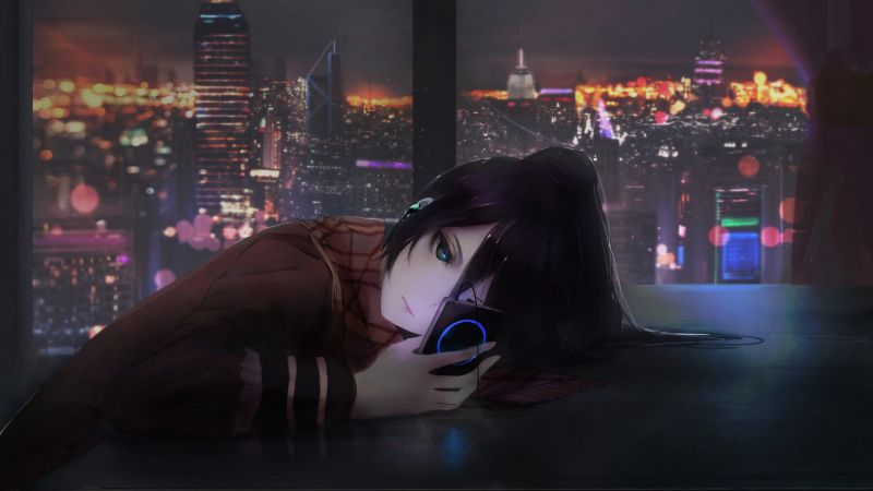 anime, girl, night, 4K (horizontal)
