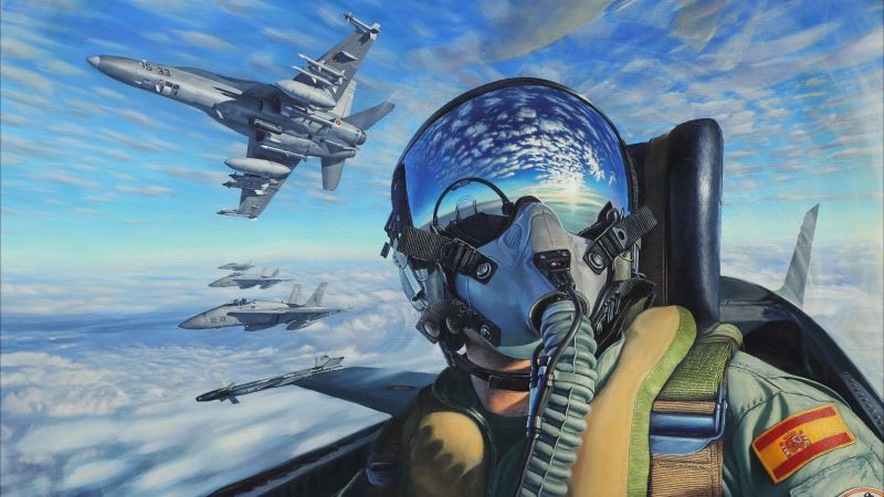 pilot, fighter aircraft, artwork, 4K (horizontal)