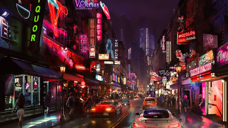 cyberpunk, future world, 4K (horizontal)