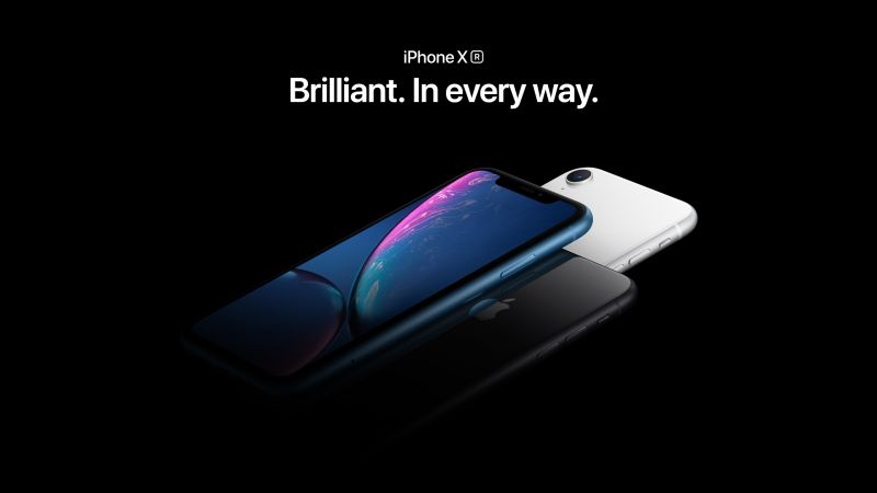 iPhone XR, blue, black, white, smartphone, Apple September 2018 Event (horizontal)