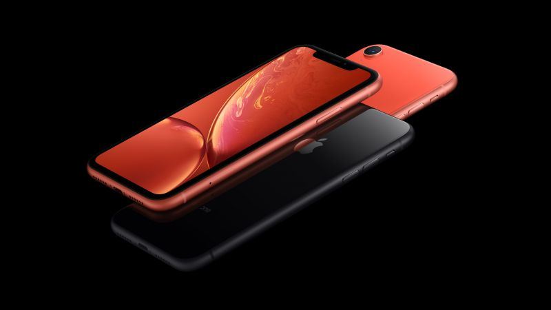 iPhone XR, coral, black, 5K, smartphone, Apple September 2018 Event (horizontal)