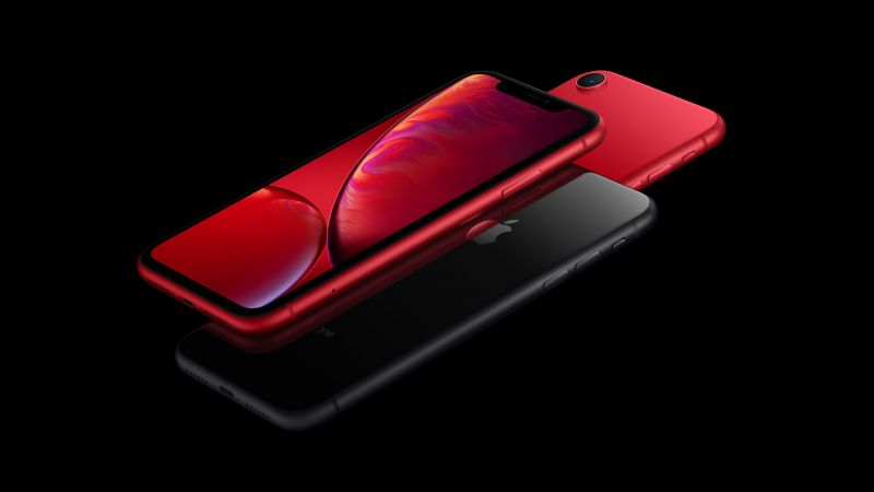 iPhone XR, red, black, 5K, smartphone, Apple September 2018 Event (horizontal)