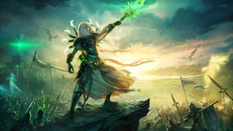 Might & Magic Heroes III, game, rpg, magic, battle, battlefield, green, sword, mage, eagle, warrior, fantasy, art, screenshot, sky, clouds, PC, 4k, 5k (horizontal)