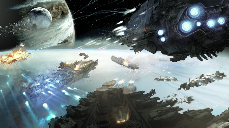 Dreadnought, game, space, battle, planet, starship, fire, galaxy, art, screenshot, 4k, 5k, PC, 2015 (horizontal)