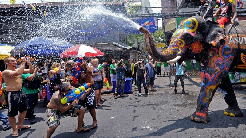 Songkran, Thai New Year, Thailand, Water Festival, elephant, event (horizontal)
