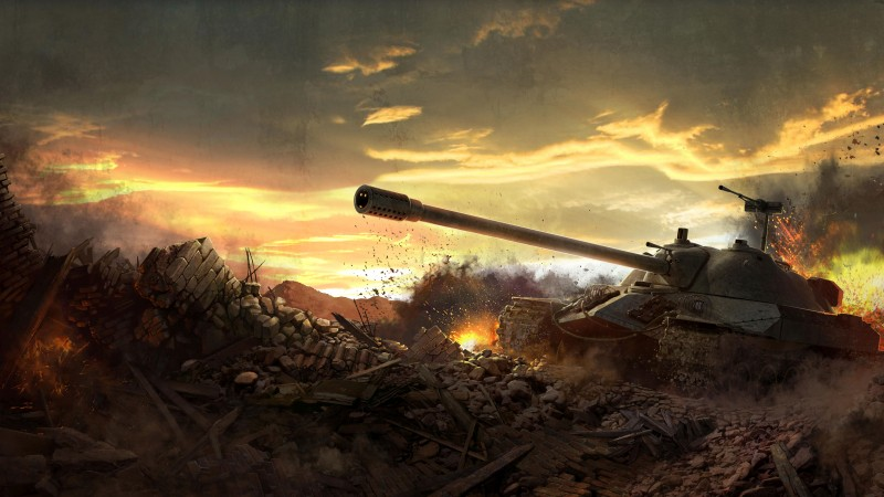 World of Tanks, game, tank, IS-7, battlefield, sky, clouds, sunset, fire, art, screenshot, 4k, 5k, PC (horizontal)