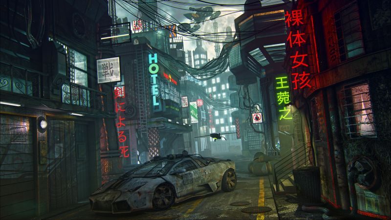 futuristic, cyberpunk, future world, 4K (horizontal)
