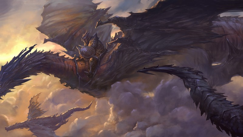 Dragon, sky, clouds, rider, armor, art, wings, black, fantasy (horizontal)