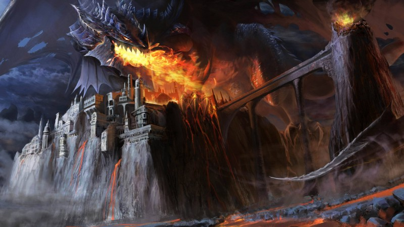 Dragon, black, fire, castle, bridge, lava, smoke, fantasy, art (horizontal)