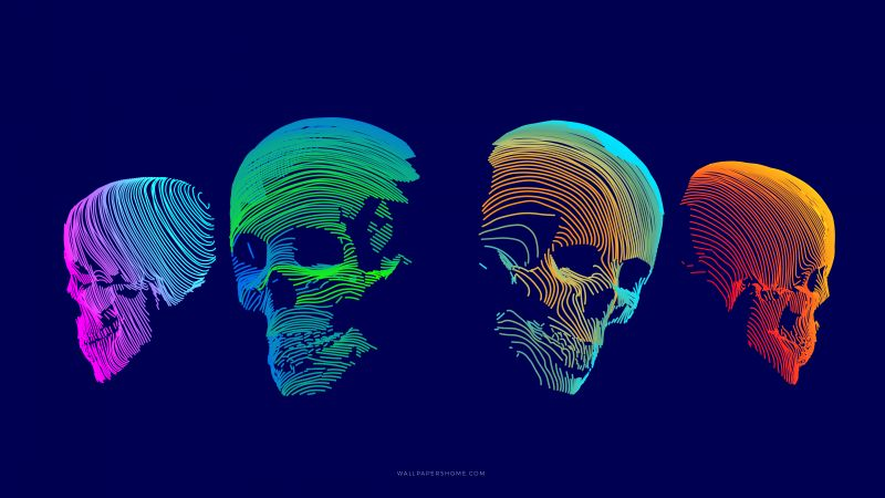abstract, 3D, colorful, skull, 8k (horizontal) ...
