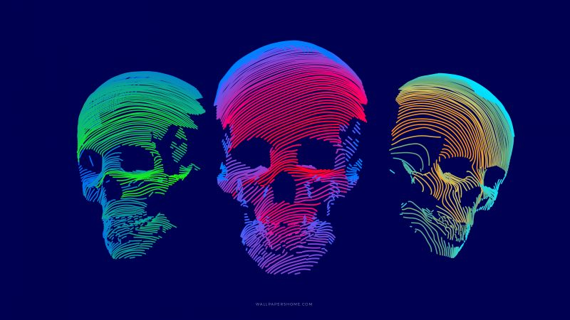 abstract, 3D, colorful, skull, 8k (horizontal)