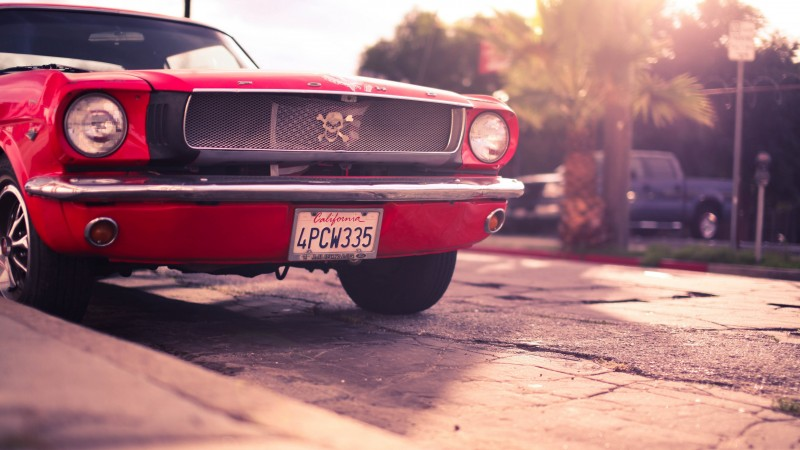 Ford Mustang, classic cars, Ford, pony car, Ford, custom, Mustang, coupe, red, front (horizontal)