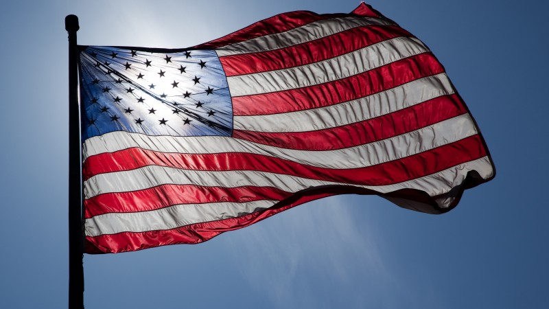 Flag Day, USA, event, street, sky, sun,  (horizontal)