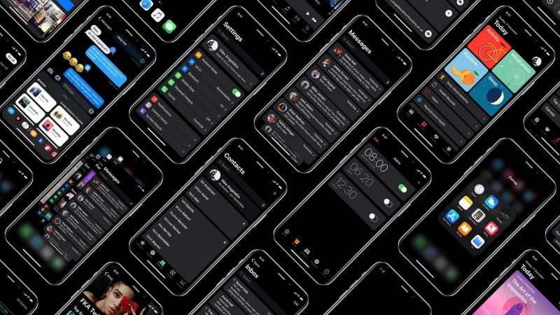 iOS 13, dark, interface, GUI, WWDC 2019, 4K (horizontal)