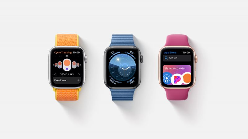 watchOS 6, interface, GUI, Apple Watch Series 4, WWDC 2019 (horizontal)