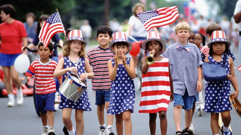 Independence Day, USA, fourth of July, Glorious fourth number, event, flag, parade, children,  (horizontal)