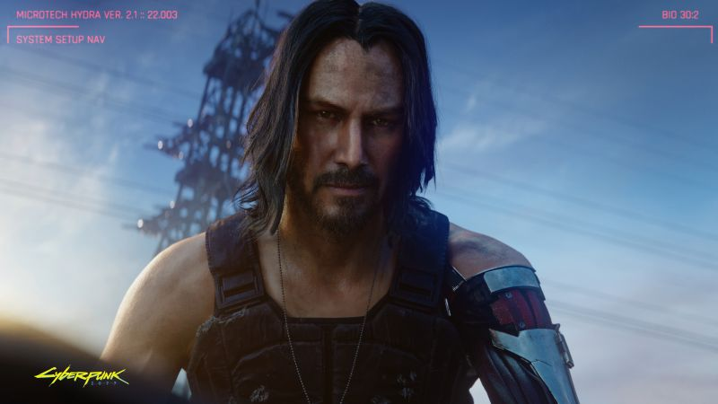 Cyberpunk 2077, Keanu Reeves, E3 2019, screenshot, 4K (horizontal)