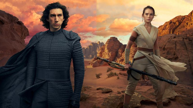 Star Wars: The Rise of Skywalker, Adam Driver, Daisy Ridley, 5K (horizontal)