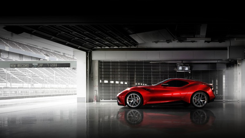 Icona Vulcano, supercar, Icona, Н-Turismo, hybrid, Shanghai, sports car, red, side (horizontal)