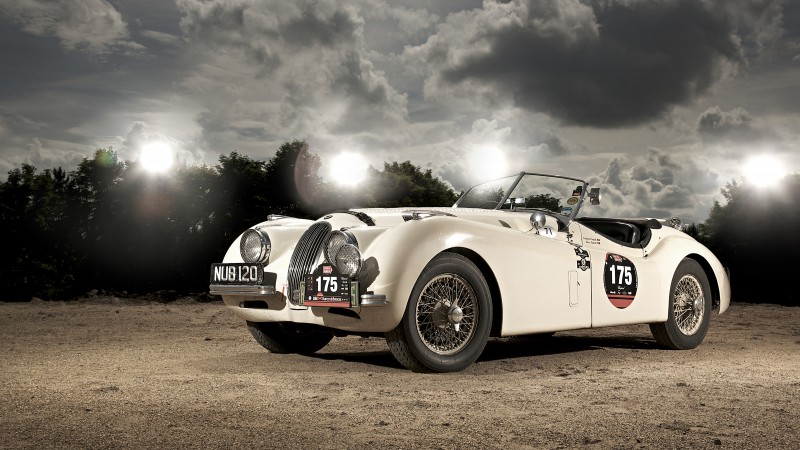 Jaguar XK120, classic cars, Jaguar, retro, sports car, cabriolet, XK100, 1950 (horizontal)