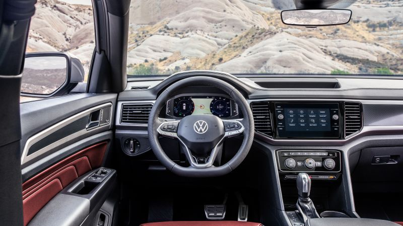 Volkswagen Atlas Cross Sport R-Line, interior, SUV, 2020 Cars, 4K (horizontal)