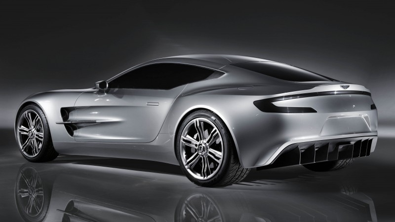 Aston Martin One-77, supercar, Aston Martin, limited edition, luxury cars, sports car, silver, back, side (horizontal)