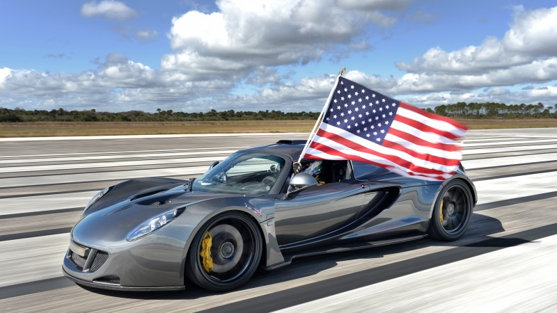 Hennessey Venom GT, supercar, Hennessey Performance Engineering, roadster, Lotus Exige, World's Fastest Edition, test drive, speed, USA, flag (horizontal)