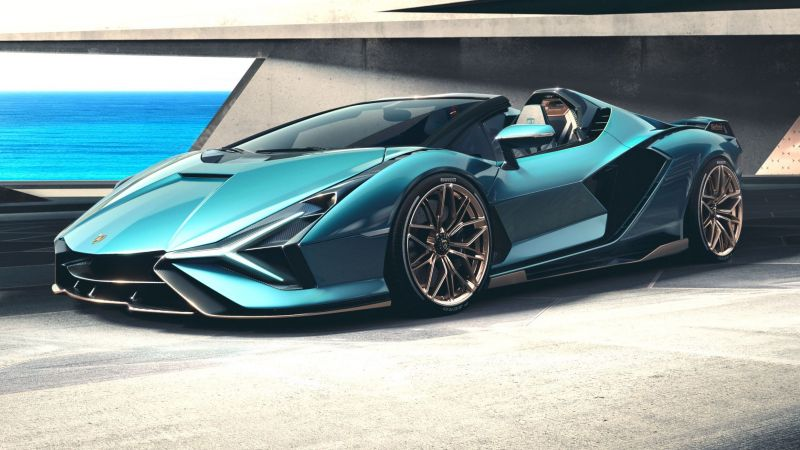 Lamborghini Sian Roadster, supercar, 2021 cars, electric cars (horizontal)