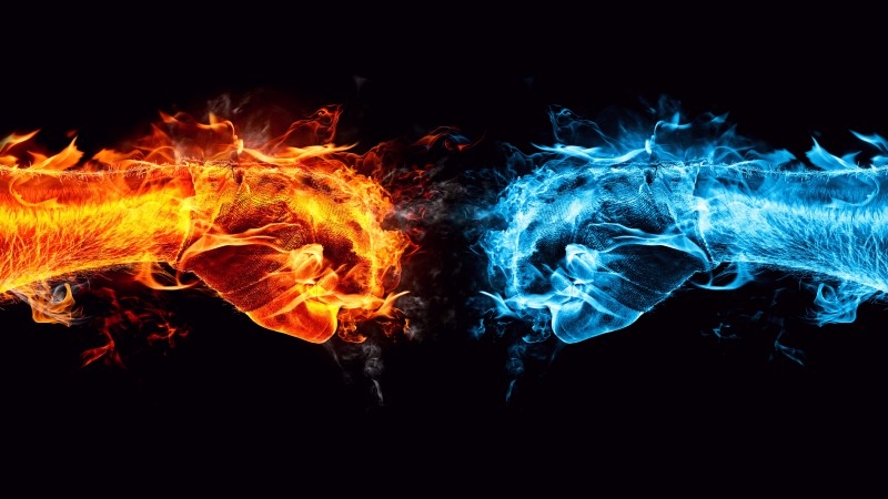 hands, 4k, 5k wallpaper, 8k, fight, kick, orange, blue, fire (horizontal)