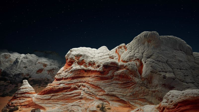 iOS 14.2, Desert, Valley, Night, 4K (horizontal)
