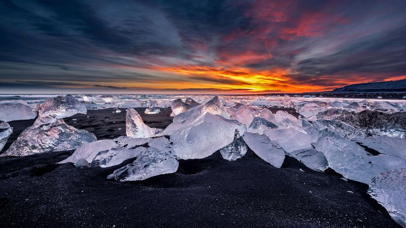 Gletschersee Jökulsárlón, Island, ice, snow, winter, 4K (horizontal)