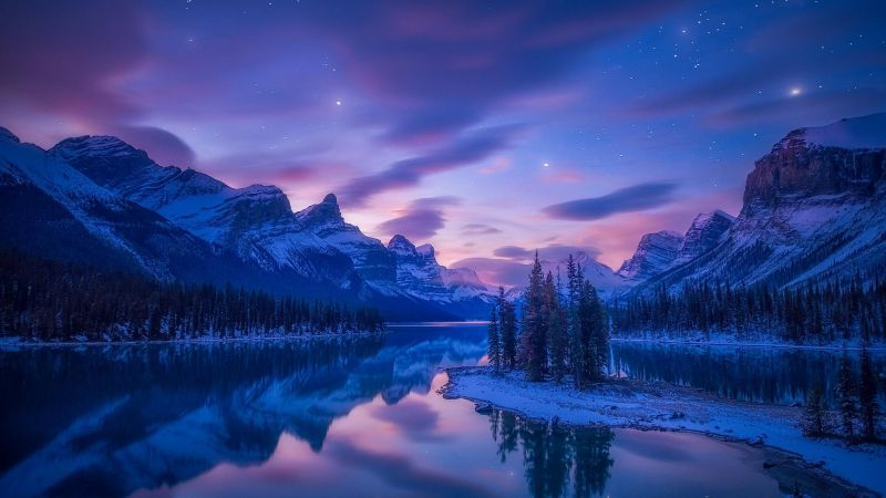 mountains, river, lake, winter, snow, night, HD (horizontal)
