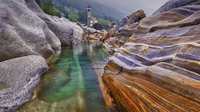 mountains, river, rocks, 4K (horizontal)