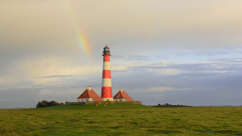 Westerheversand Lighthouse, Westerhever, Schleswig-Holstein, Germany, 4K (horizontal)
