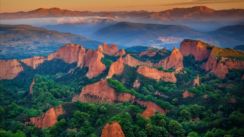Las Médulas, León province, Spain, mountains, for, green, 5K (horizontal)
