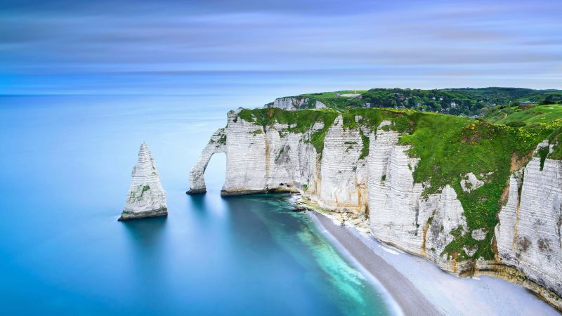 Chemin des Douaniers, Normandy, France, beach, rocks, ocean, water, mountains, 4K (horizontal)