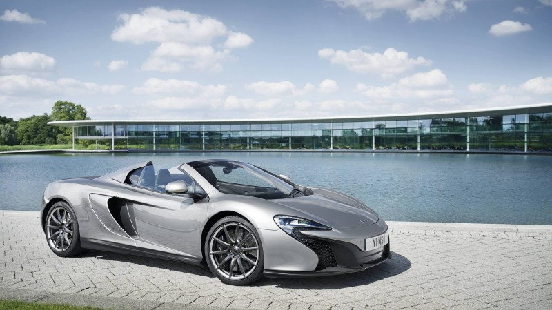 McLaren 650S Spider, supercar, McLaren, luxury cars, sports car, speed, test drive, silver, sea, 2015 Detroit Auto Show. NAIAS (horizontal)