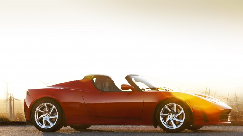 Tesla Roadster, electric cars, Tesla Motors, sports car, red, side, speed, review, test drive (horizontal)