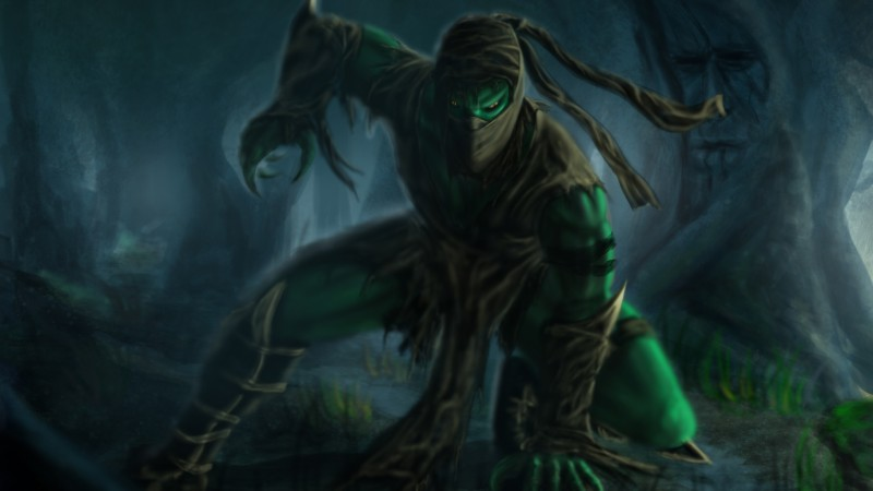 Mortal Kombat, game, fighting, Reptile, fan art, forest, Ents, mist, swamp, art (horizontal)