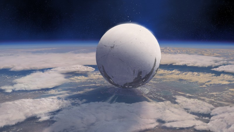 Destiny, game, MMOFPS, sci-fi, space, sphere, planet, spaceship, Exo, blue, screenshot (horizontal)