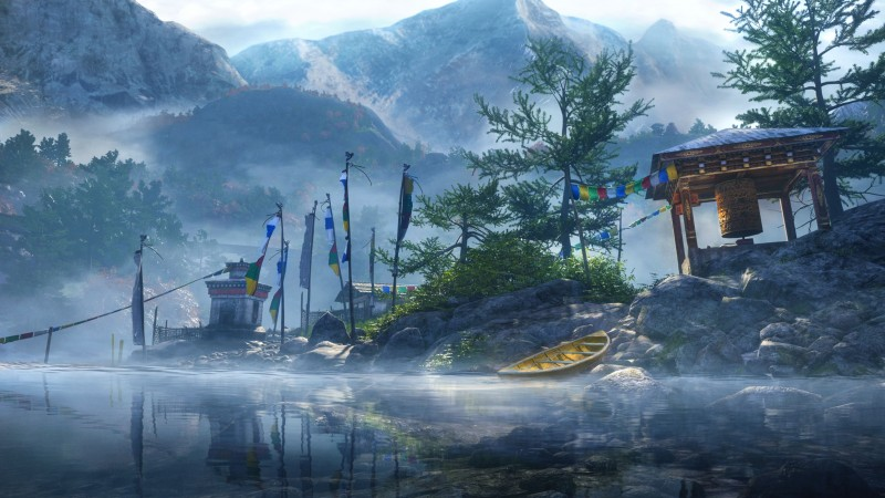 Far Cry 4, game, open world, Adventure games, shooter, Kyrat, Himalayas, mountain, Tibet, boat, lake, screenshot (horizontal)