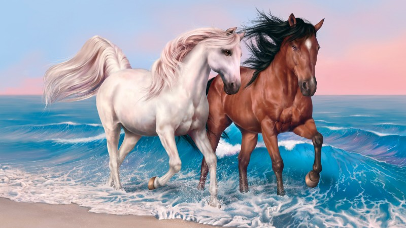 horses, 4k, HD wallpaper, run, sea, ocean, sunset, white, brown (horizontal)