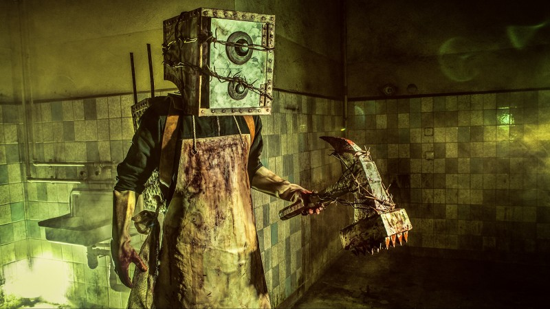 The Evil Within, game, survival horror, Evil Within, The Keeper, Boxman, axe, monster, Mikami, cosplay (horizontal)