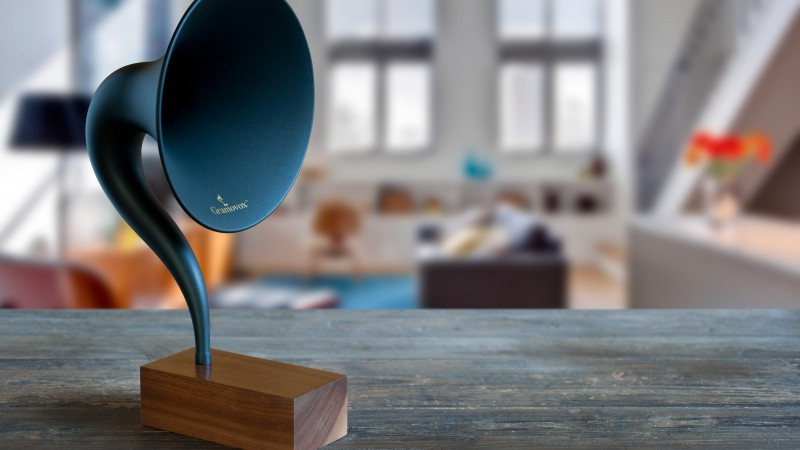 Gramovox, bluetooth, gramophone, music, sound, blue, room, nostalgia (horizontal)