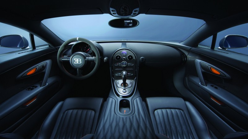Bugatti Veyron Super Sport, interior, supercar, Bugatti, sports car, Veyron, test drive, speed, speed record, black (horizontal)