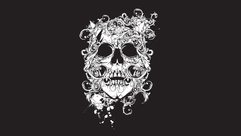 scull, black, tatto, decor (horizontal)